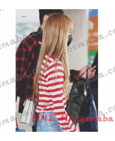 blackpink 赤い縞 長い袖 Tシャツ リサ 私服 すごくかわいい あわせやすい lisa