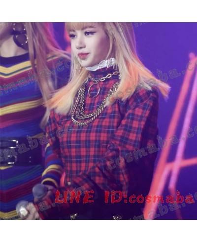 blackpink lisa リサ 演出服 ダンス服 コスプレ衣装 赤と黒の格子縞のシャツ