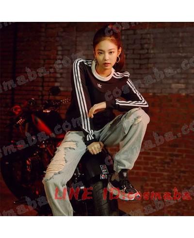 blackpink jennieブラックピンク アディダス 服 小さいクローバーロゴ KILLTHISLOVE 通販 Tシャツ 即納