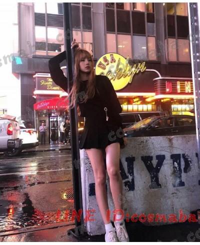 blackpink リサ KILL THIS LOVE 私服 コスプレ衣装 通販 黒いセット パーカー+スカート ブランド 即納