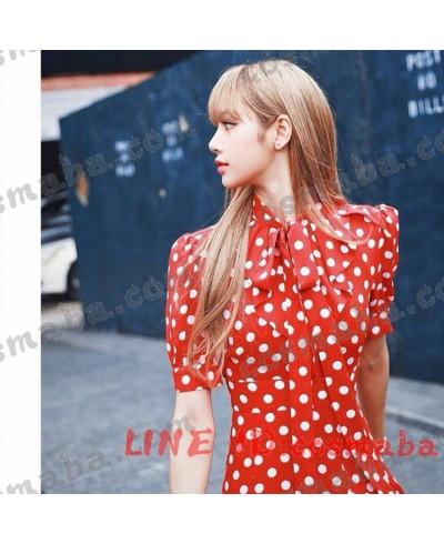 blackpink lisa  ファッションション 赤白ドット ドレス ブラックピンク KILLTHISLOVE 打歌服 通販 即納