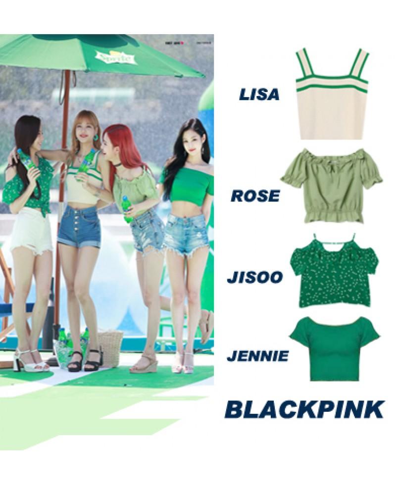 blackpink lisa/rose/jennie/jisooブラックピンク KILLTHISLOVE 打歌服 緑シャツ 通販 服 即納