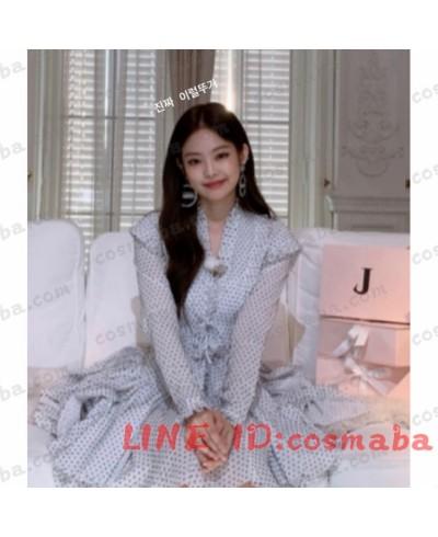 blackpink Jennie ブラックピンク ジェニー ファッションション コスプレ衣装  フランス風 白いドレス 黒いドート