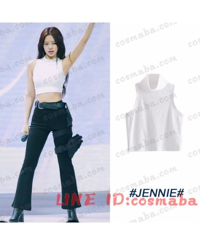 blackpink JENNIE ブラックピンク ジェニー KILLTHISLOVE 打歌服 レディ風 白いTシャツ+黒いズボン+ベルトかばん 通販