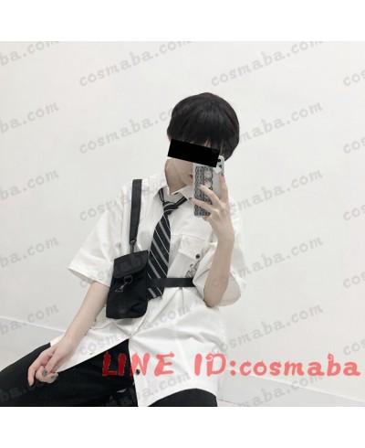 韓国服 ボディバッグ ロゴ入り ブラック ホワイト 黒いカバン ちょうクール 機能パッケージ ファッション