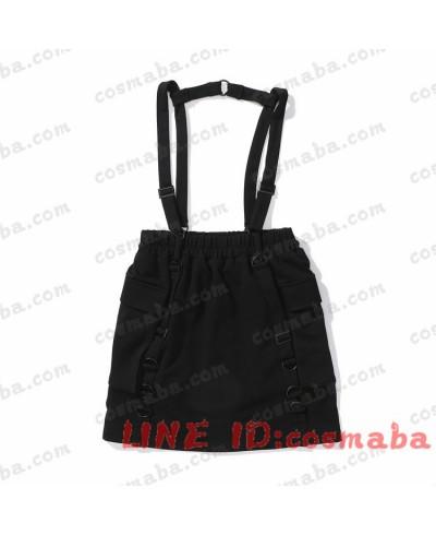 韓国服 シャツスカート サスペンダー 黒い すごくクール 黒白 半袖 シャツ 高品質 激安い