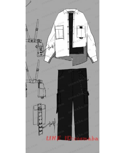 韓国服 シャツスカート サスペンダー  日常 チェック すごくクール 黒白 シャツ 高品質 激安い 韓国風 学院風 男女