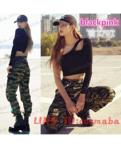 blackpink lisa ステージ衣装斜め襟片肩出し 長袖tシャツカジュアルパンツ迷彩ダンス衣装