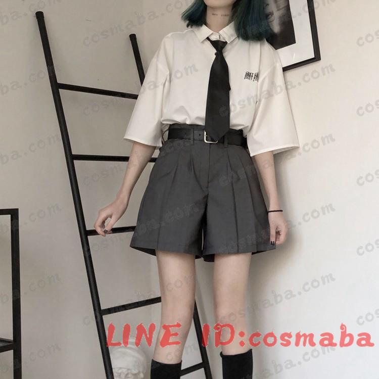 韓国服 黒白 シャツ パンツ シンプル コスプレ衣装 韓国ファッション 潮流 人気 かっこういい 安い ネクタイ贈り